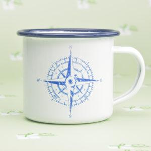 Emailletasse-bedruckt-Kompass - blauer Rand-Blau