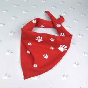 Hundehalstücher- Pfoten rot-weiß