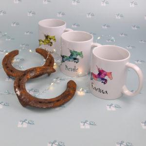 Keramiktassen - Pferd grafisch - klein - 3er