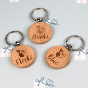 Schlüsselanhänger rund -Katze - 3er