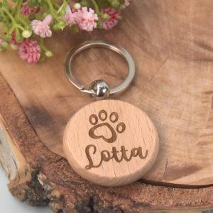 Artikelbild - Schlüsselanhänger rund - Hund - Herz-Tatze - Lotta