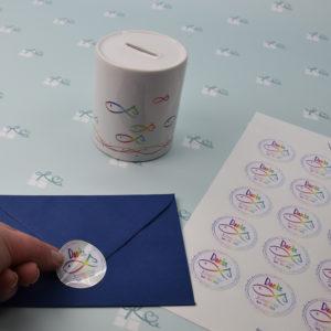 Artikelbild - Aufkleber-Bogen Fische personalisiert Regenbogen - Anwendung2