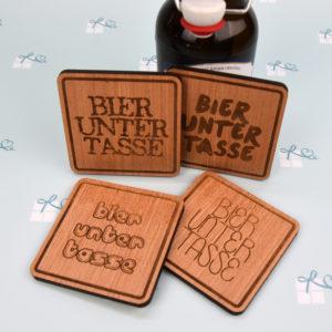 Holzuntersetzer - Bieruntertasse