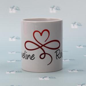 Keramik-Tasse - personalisiert mit Herz unendlich