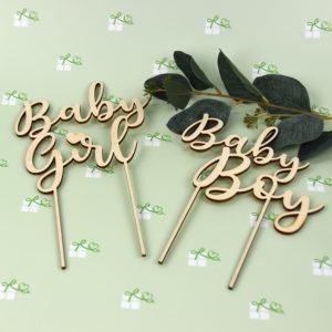 Artikelbild - Tortentopper - BabyGirl - BabyBoy - Holz - beide