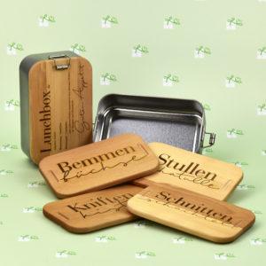 Lunchbox - mit Holzdeckel - 5er2