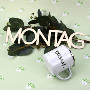 Artikelbild -Emailletassen - EGAAAL Rand silber - Montag2