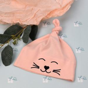 Babymütze gestreift - Katze - Lachs - geknotet