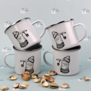Emailletasse - Möwe mit Mütze und Pfeife - 4er