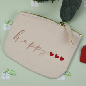 Kosmetiktasche klein - happy - natur1