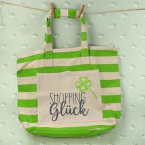Strandtasche gestreift grün - Shopping Glück - 1