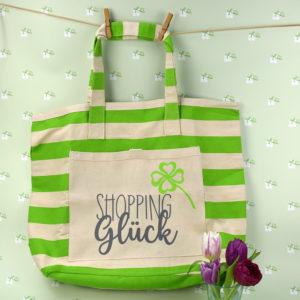 Strandtasche gestreift grün - Shopping Glück - 2
