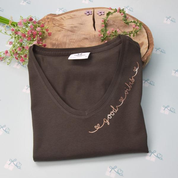 good vibes - T-Shirt mit V-Ausschnitt-dark olive