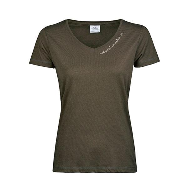 good-vibes-T-Shirt-mit-V-Ausschnitt-dark-olive.jpg