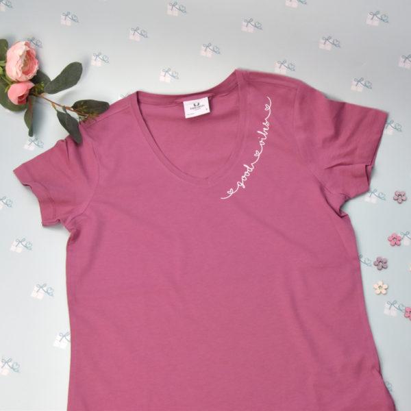 good vibes - T-Shirt mit V-Ausschnitt-rose