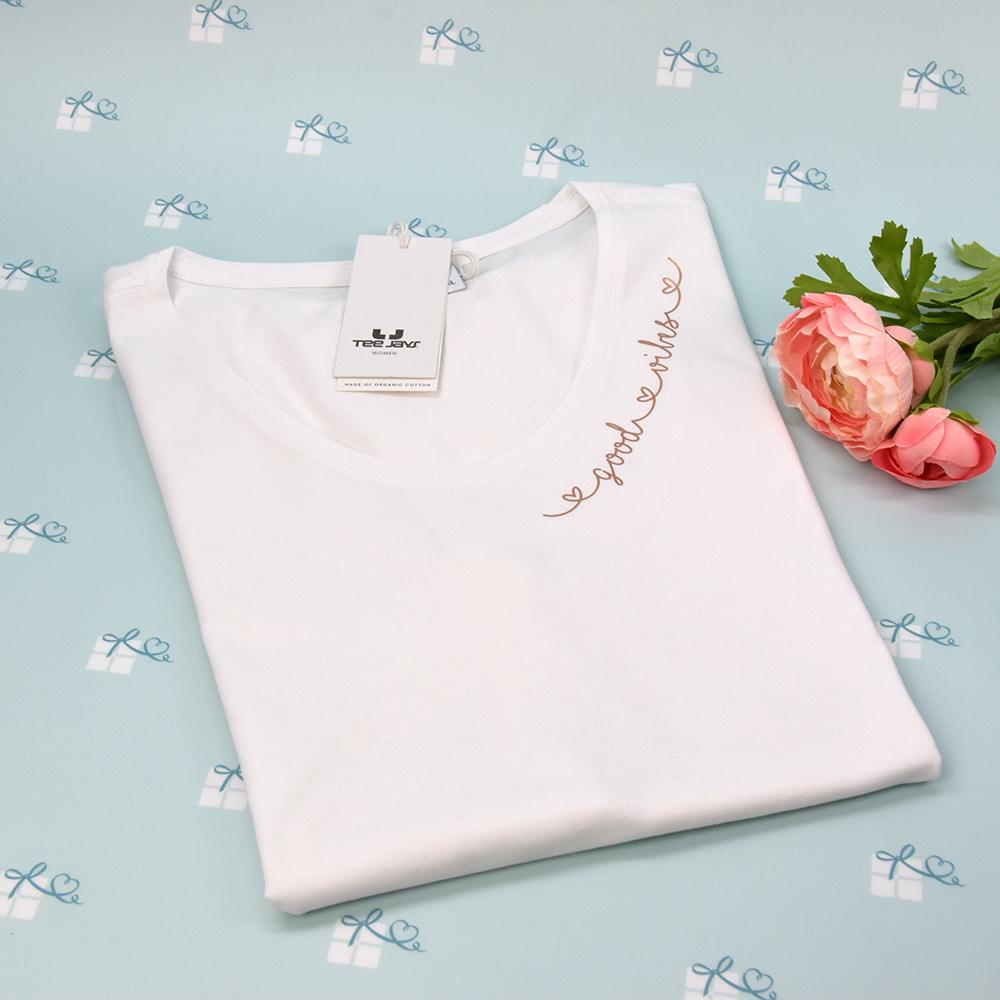 good vibes - T-Shirt mit V-Ausschnitt - weiß