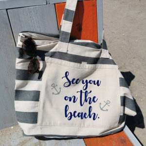 Strandtasche gestreift grau - See you on the beach - 1