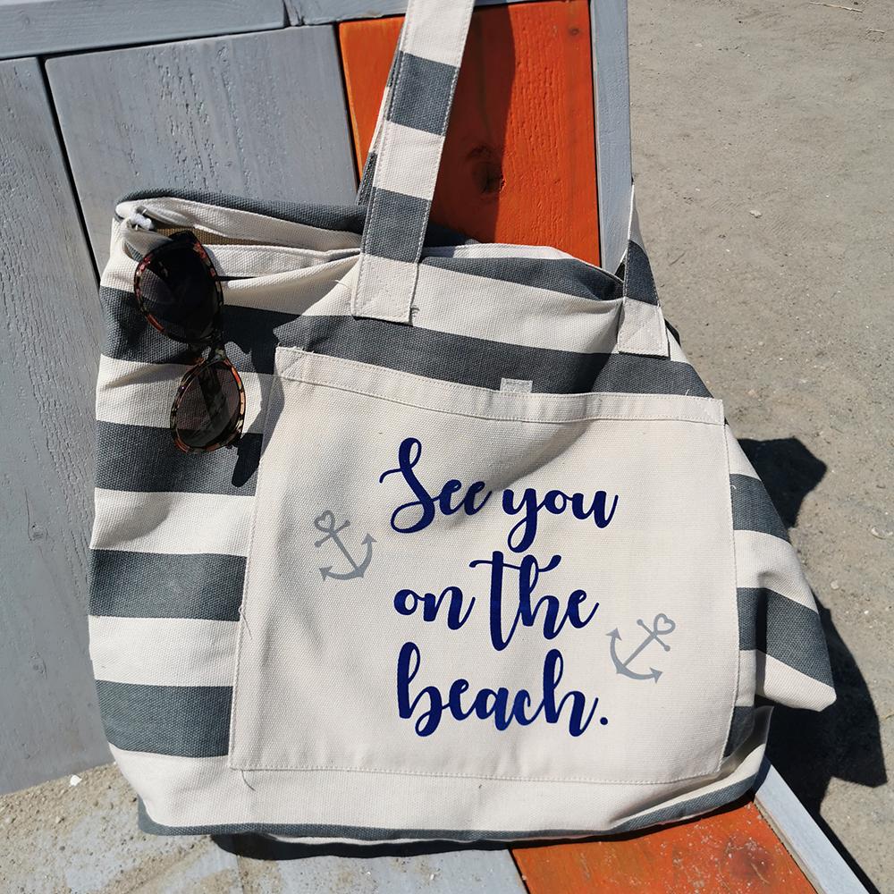 Strandtasche gestreift grau - See you on the beach - 1