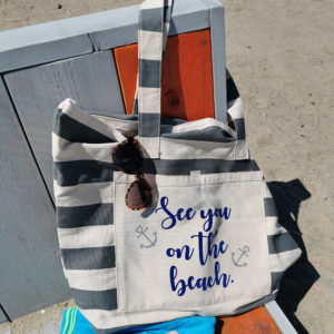 Strandtasche gestreift grau - See you on the beach - 2