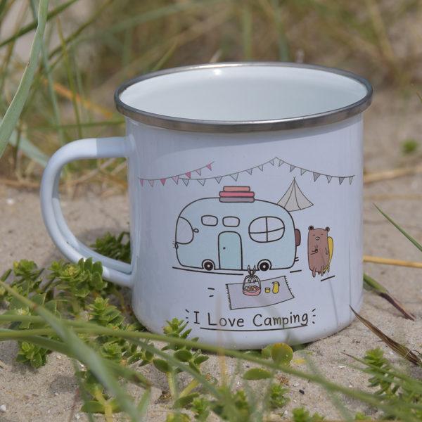 I love Camping - Emailletasse