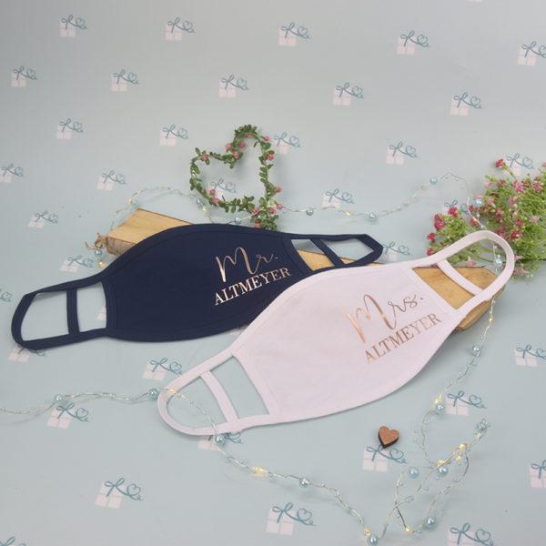 Mund-Nase-Maske - Mr Mrs personalisiert