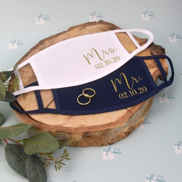 Mund-Nase-Maske - Mr Mrs personalisiert - Datum