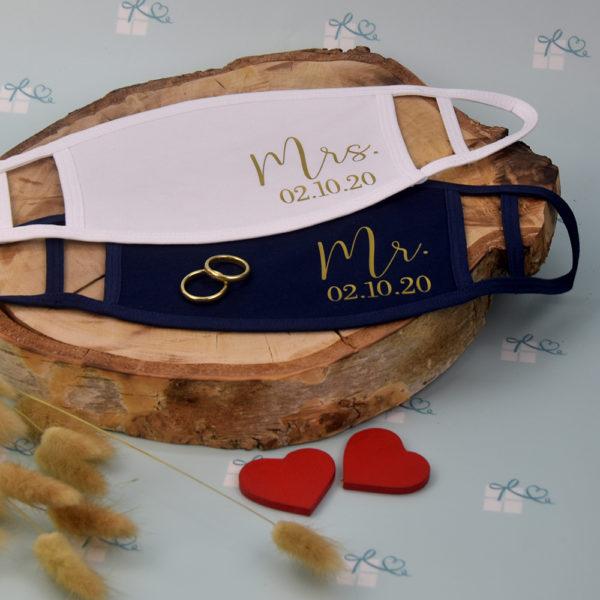 Mund-Nase-Maske - Mr Mrs personalisiert - Datum1