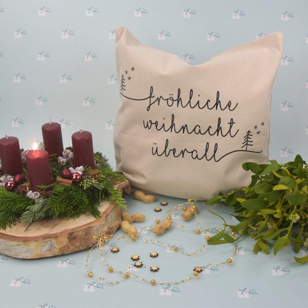 Kissenbezug - Weihnachten - Fröhliche Weihnacht überall - twitter