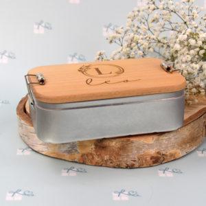 Lunchbox - Initiale im floralen Rand und Name - 5