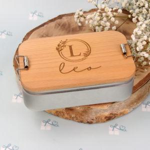 Lunchbox - Initiale im floralen Rand und Name - 6